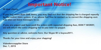 Important notice about repeated shipping fees! - Videolenssupplier.com