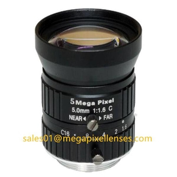 "1/1.7"" 5mm F1.6 Megapixel Manual IRIS C Mount Industrial FA Lens, 5mm 5MP Machine Vision Industrial Lens"