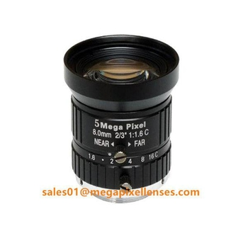 "2/3"" 8mm F1.6 Megapixel Manual IRIS C Mount Industrial FA Lens, 8mm 5MP machine vision industrial Lens - Videolenssupplier.com"
