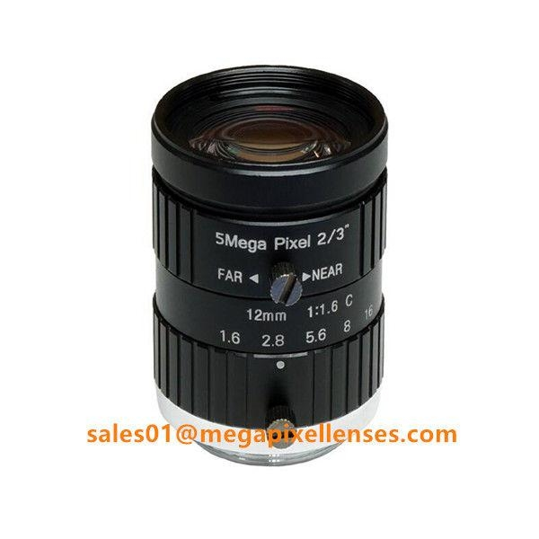 "2/3"" 12mm F1.6 Megapixel Manual IRIS C Mount Industrial FA Lens, 12mm 5MP machine vision industrial Lens"