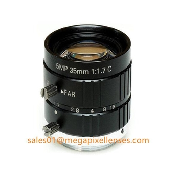 "2/3"" 35mm F1.7 5Megapixel Manual IRIS C Mount Industrial FA Lens, 35mm 5MP Non Distortion Industrial Lens"
