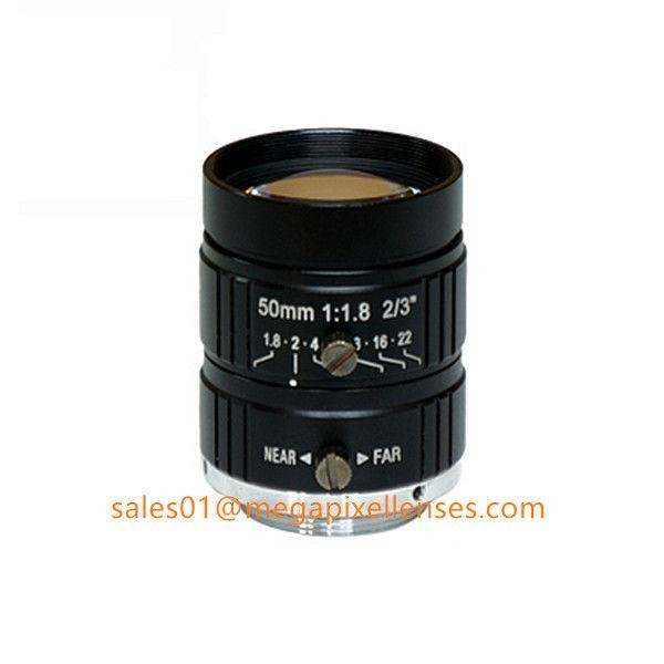 "2/3"" 50mm F1.8 5Megapixel Manual IRIS C Mount Industrial FA Lens, 35mm 5MP Non Distortion Industrial Lens"